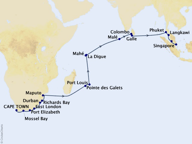 30-night Indian Ocean Odyssey Voyage Map