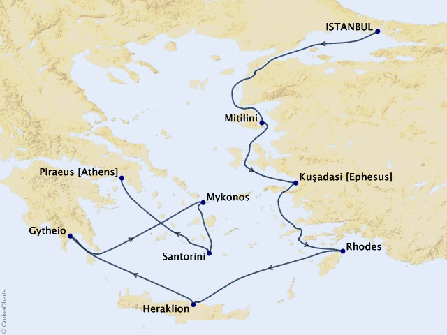 8-night Crossing Continents Cruise Map