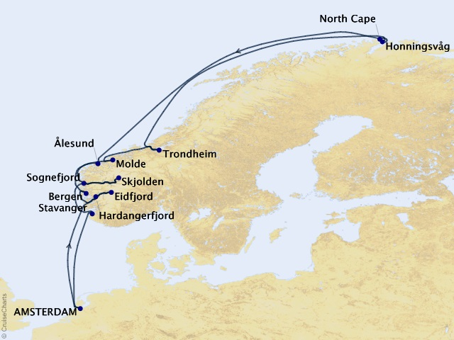 14-night Voyage of the Midnight Sun Cruise Itinerary Map