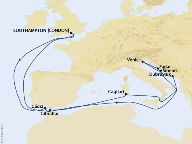 19-night Venice and the Adriatic Cruise Itinerary Map