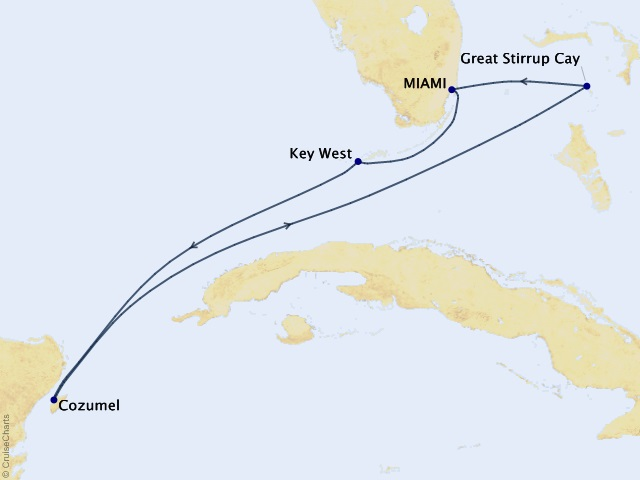 5-night Caribbean from Miami Cruise Itinerary Map