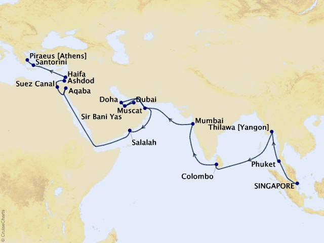 42-night Ancient Empires Exploration Cruise Map