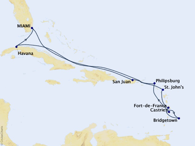 12-night Spices & Sandy Beaches Cruise Map