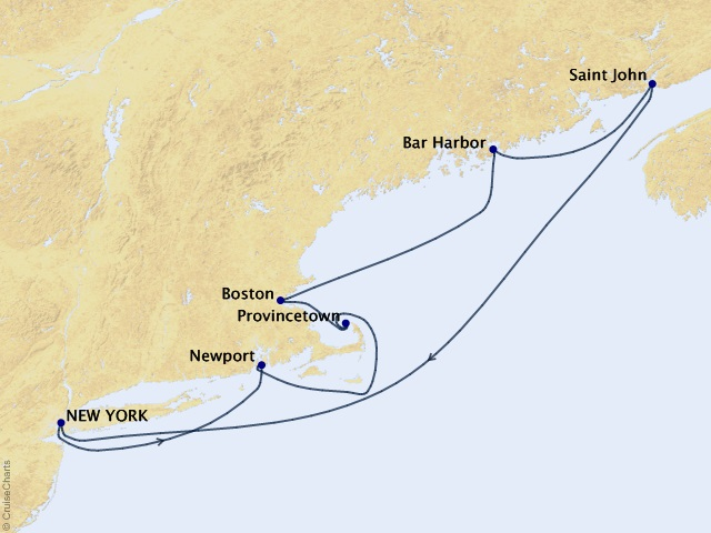 7-night New England Classic Cruise Map