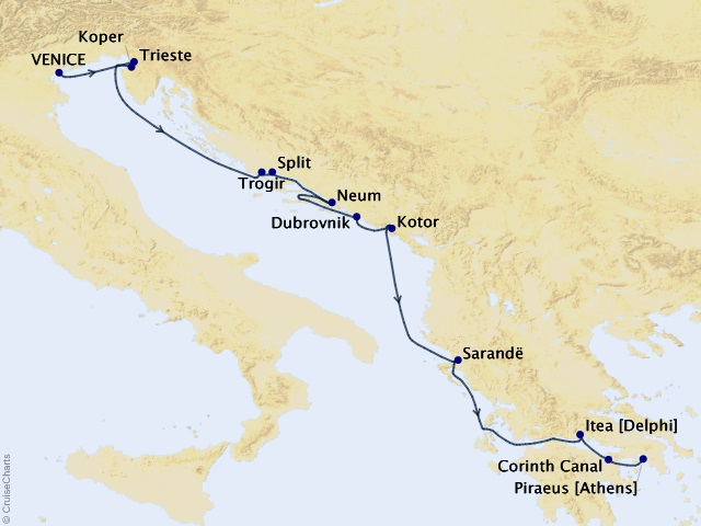 10-night Adriatic Cruise Map