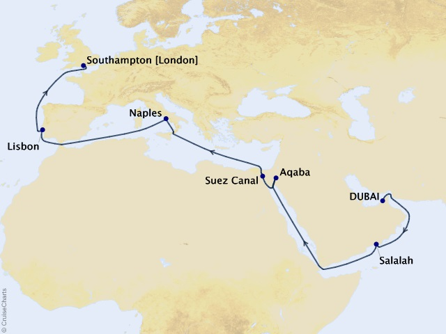 20-night 2023 Centenary World Voyage Segment - Dubai to Southampton Map