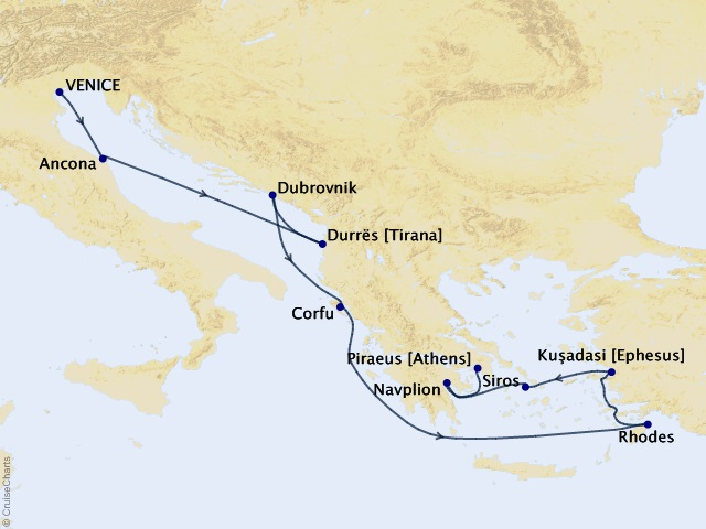 10-night Adriatic & Aegean Allure Voyage Map
