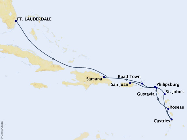 Caribbean & Central America Cruise Map