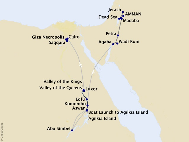 12-night Jordan and Egypt – Petra to the Pyramids Cruise/Land Package Map