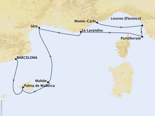 7-night Spanish Isles & Florence Cruise Map