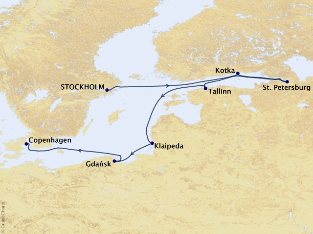 7-night White Nights & Regals Sights Cruise Map