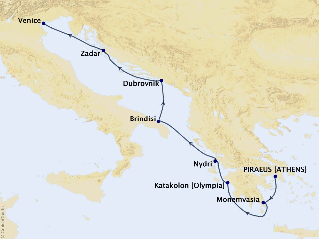 7-night Greece & Dalmatian Delights Cruise Map