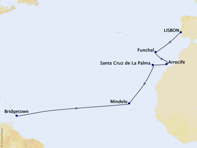 14-night Trans-Atlantic Cruise Map