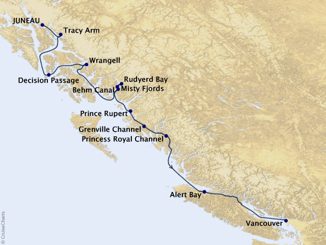 7-night Alaska Fjords and Canadian Inside Passage Cruise Map