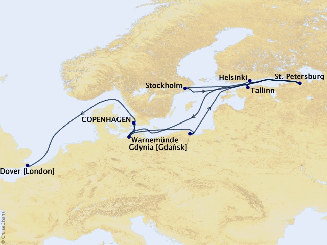 23-night Grand Journey – Baltic Capital Immersion Cruise Map