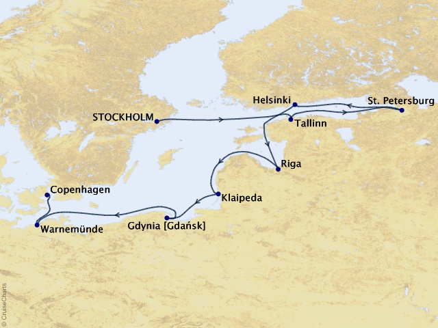 10-night Scandinavian Ballads Voyage Map