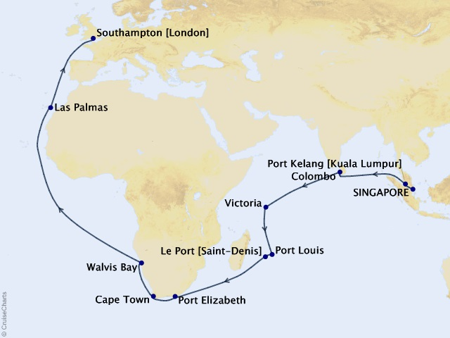35-night World Segment- Singapore to Southampton Cruise