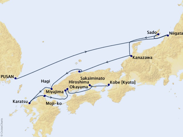11-night Asia Expedition Cruise Map