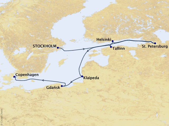 8-night Architecture of Northern Europe Cruise Map