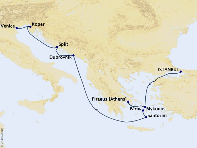 9-night Greek Isles from Istanbul to Venice – Santorini, Athens, and Croatia Cruise Itinerary Map
