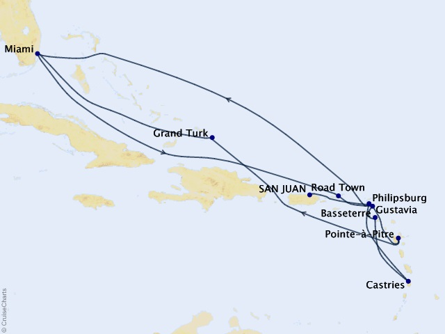 17-night Grand Journey – Caribbean Collection Cruise Map