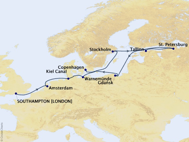 15-night Baltic Highlights Voyage Map