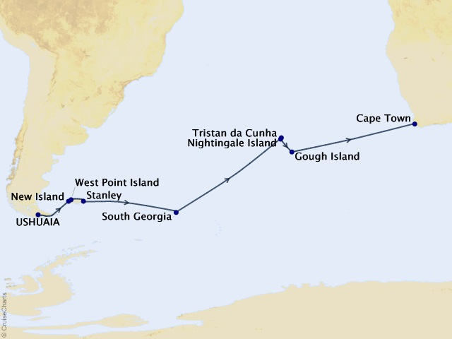 21-night Transoceanic Expedition Cruise Map