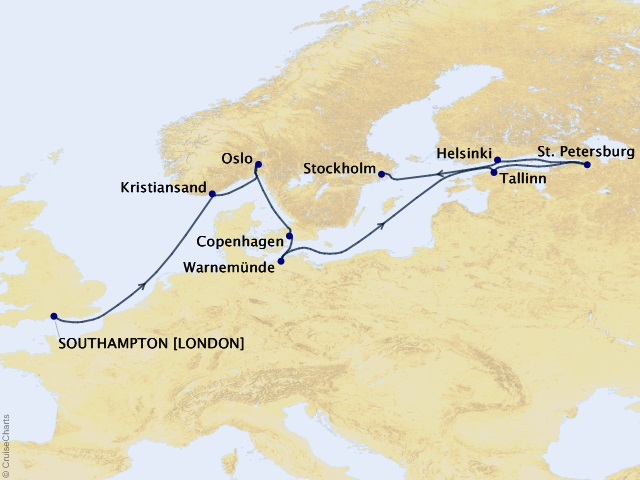 12-night North Sea Artistry Voyage Map