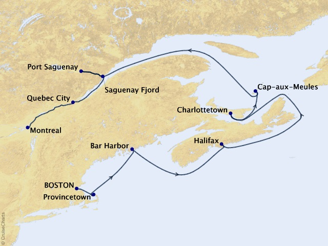 11-night New England & Canadian Maritimes Cruise Map