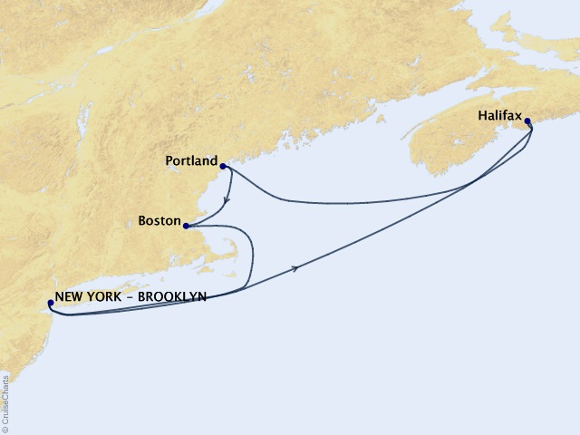 7-night Independence Day Celebration, Halifax & Boston Short Break Cruise Map