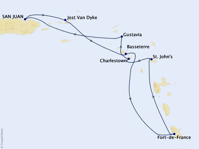 7-night Caribbean Cruise Map