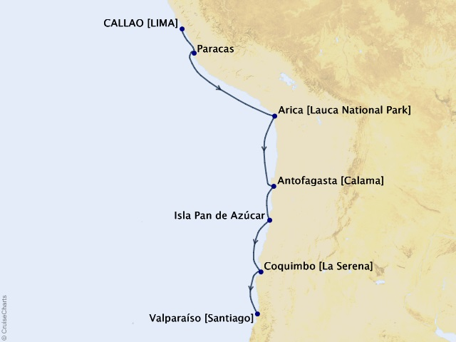 8-night South America Cruise Map