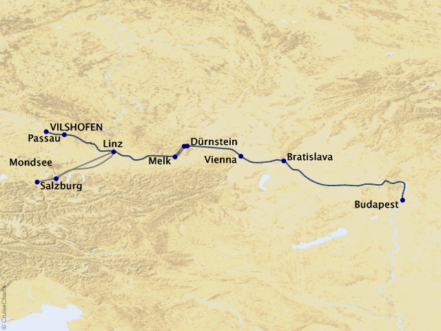 7-night Romantic Danube Cruise Map