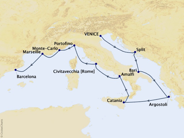 10-night Italian Retreat Cruise Map