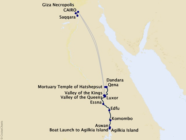 11-night Pharaohs & Pyramids Cruisetour Map