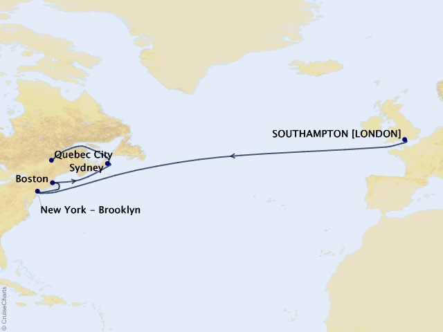14-night Transatlantic, New England, and Canada Cruise Map