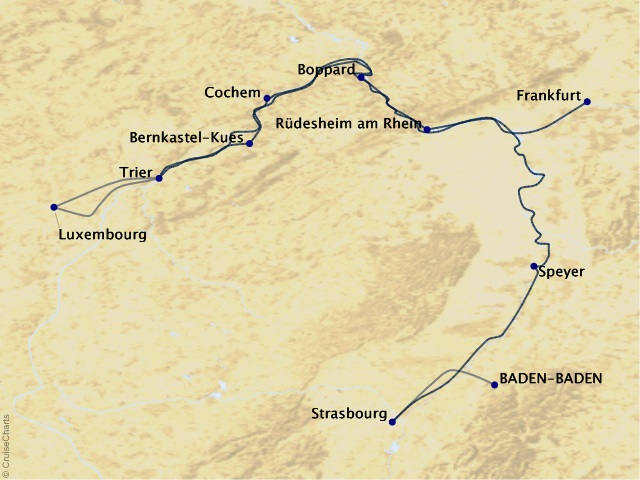 11-night Rhine, Moselle, & Blissful Baden-Baden Cruise/Land Package Map