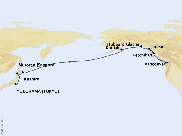 16-night North Pacific Crossing Cruise Itinerary Map