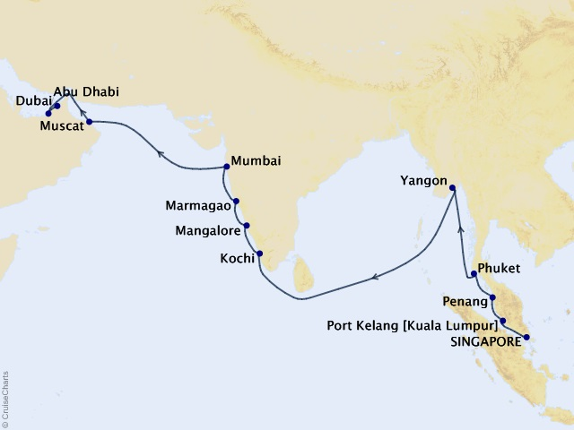 20-night Singapore to Dubai Cruise