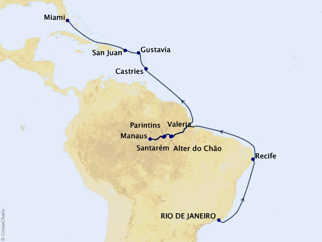 21-night Christmas in the Amazon Cruise Map