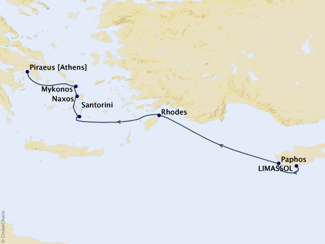 7-night Greek Isles Grandeur Cruise Map