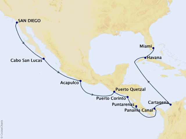 Panama to Paradise Voyage Map