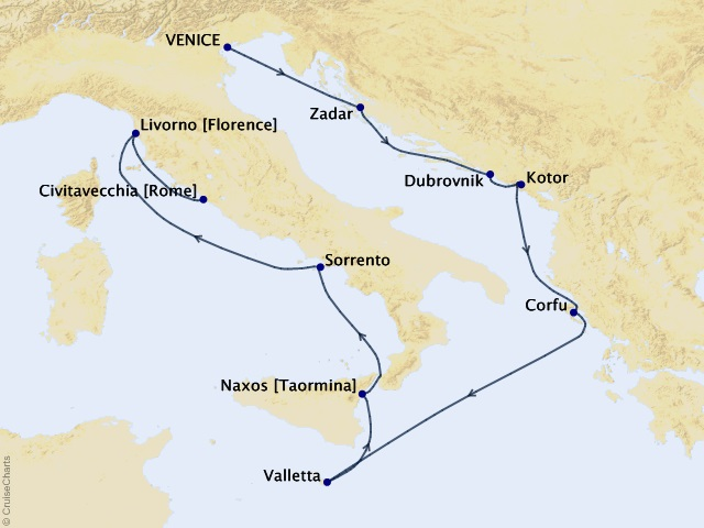 10-night Treasures of Tuscany Cruise Map