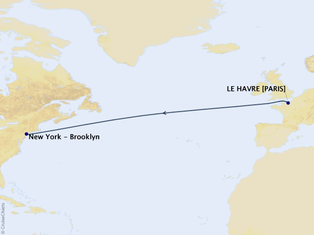 Westbound Transatlantic Crossing from Le Havre Cruise Map
