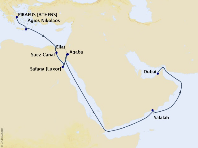 16-night Suez Canal Voyage Map