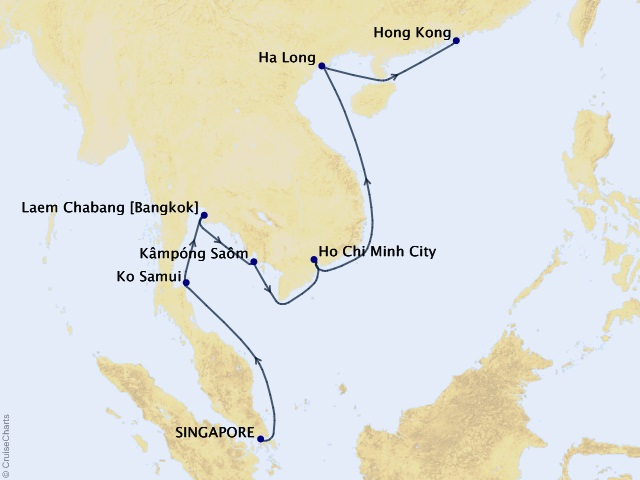 15-night Southeast Asia Skylines Cruise Map