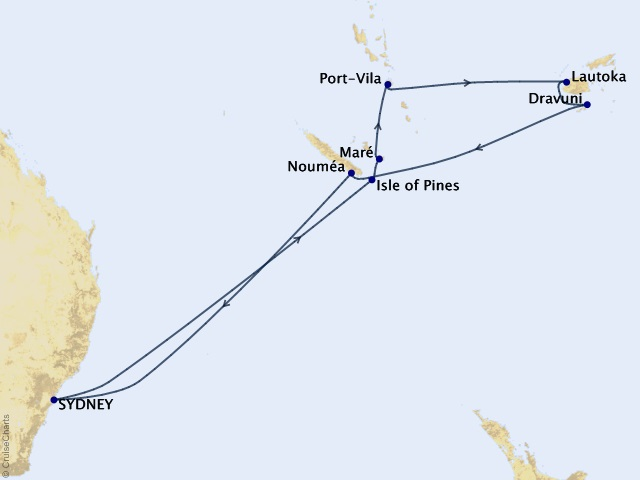 13-night Australia & New Zealand Cruise Map