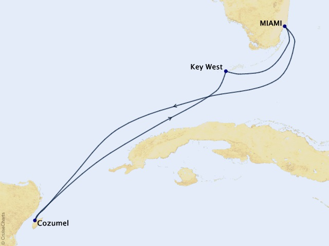 Mexico & Key West Cruise Map