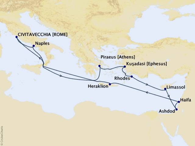 13-night Italy, Greece, Israel, & Turkey from Rome Cruise Map
