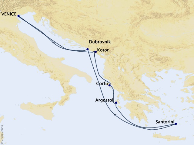 7-night Greek Isles Cruise Map